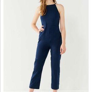 Urban Outfitters Navy Linen Blend Jumpsuit
